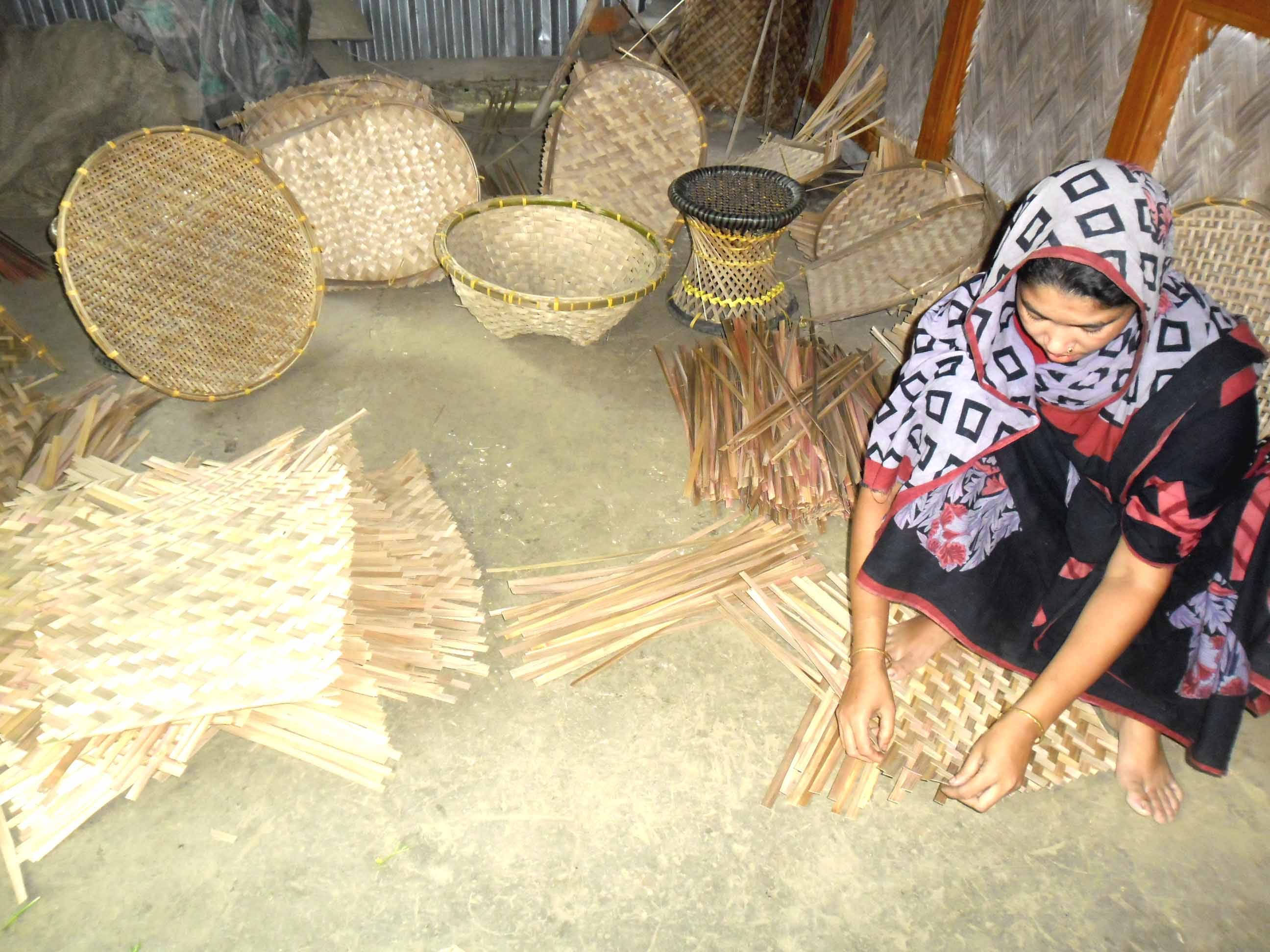 Making Bamboo And Cane Goods, Maneja Khatun, South Baramanika W.S Burhanuddin, Bhola